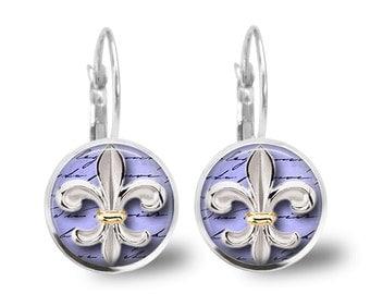 Tile Earrings Fleur de Lis Earrings Tile Jewelry Fleur de Lis Jewelry Beaded Jewelry Silver Earrings Silver Jewelry Brass Earrings