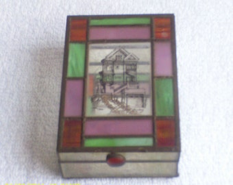 Vintage  Stained  Glass  Box   /  Used