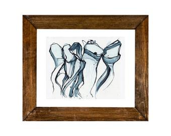 Abstract Medium ORIGINAL Painting, Abstract Jellyfish Painting, Navy Blue Denim Painting, Abstract Blue Line Painting, Blue Ink Painting,