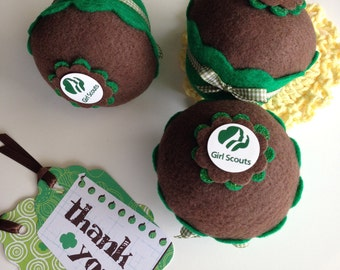 Girl Scout Felt Cupcake - Troop Leader, Girlfriends, Ceremony, Gifts, Scout, Pin Cushion, Appreciation, Party Favors, Decor