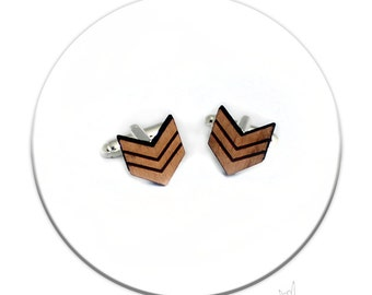 Cufflinks - Army Ranck Sergeant Wood Laser Cut Music Hipster Geek
