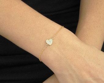 Delicate bracelet, Gold Bracelet, Gold Hart Delicate Bracelet, gift for her, Pave Setted Bracelet, Gold Bracelet, Delicate Diamond bracelet