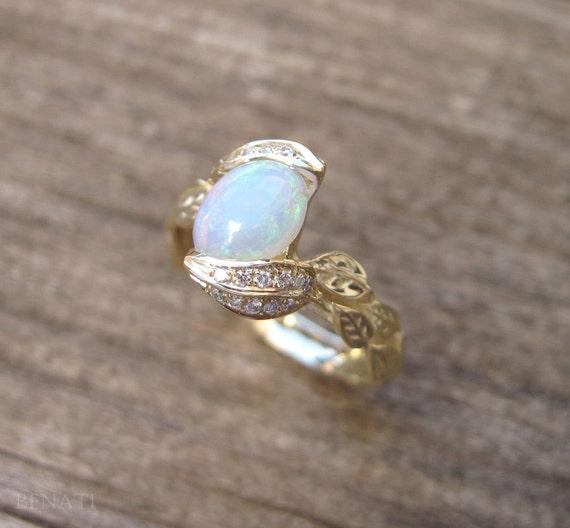 Opal Engagement Rings: Opal Leaves Ring Opal Engagement Ring Diamond Opal Leaf