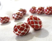 Red Enamel Inlaid Checkered Pattern Silver large hole beads, 11mm x 8mm, 5mm hole, package of 8