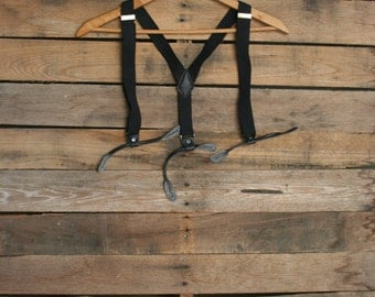 Vintage Kids Black Suspenders with Silver Accents