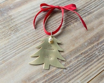 Personalized Christmas Ornament - Handstamped Custom Tree Ornament - Gold Brass - Family - First Christmas - New Baby - Christmas Gift
