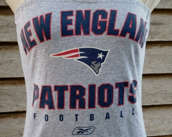 New England Patriots gray / navy strapless fitted  tube dress Upcycled repurposed T Shirt S - M