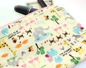 Zoo Bag - Animal Print Pencil Pouch, Kawaii Makeup Bag, elephant, giraffe, monkey school bag, cosmetic pouch, cute pencil bag