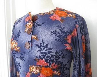 1970s Vintage Bohemian Long Sleeved Dress // Floral // Boho // Bohemian // Long Dress // Festival // Purple, Size M