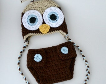 Crochet Baby Owl Hat and Diaper Cover Set - Newborn - Chocolate, Bone, and Soft Blue - MADE TO ORDER