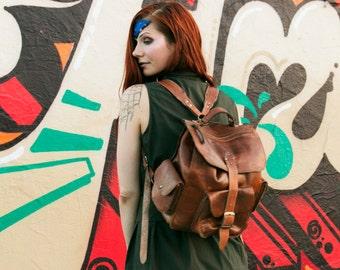 Handmade Brown leather bookbag