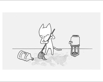 "Bad Kitty (Spill) - fine art print 5""x7"""