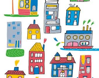 Houses print, european house artwork, home illustration
