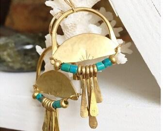 R I S E  Geometric Golden Brass Arch Turquoise Fringe Earrings