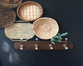 old fashion wooden metal wall rack / coat hanger