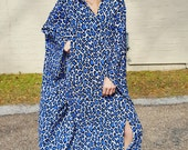 blue leopard batwing cape dress caftan kaftan bohemian hippie glamour hipster maxi dress bold graphic print resort wear festival dress