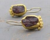 Garnet Earrings - 24k Gold Gold Earrings  - Fine gold Garnet Earrings - Rough Cut Garnet Earrings
