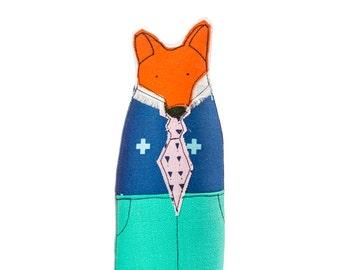 Fox doll , woodland nursery , hipster fox , nursery fox decor  , Soft animal doll , family portrait , Ornamental Doll , book shelf decor