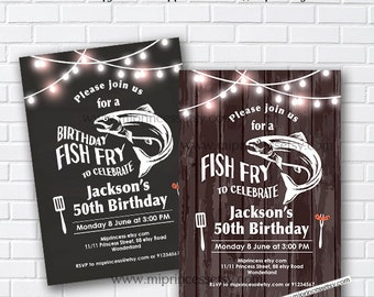 Fish Fry party, birthday fish fry Invitation, Chalkboard Backyard, Barbecue Fish Fry , any age, 30th 40th 50th 60th 70th 80th - card 846