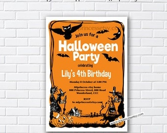 Halloween Party OR  Birthday Invitation OR halloween baby shower , any age, 1st 2nd 3rd 4th 5th 6th 7th 8th - card 995
