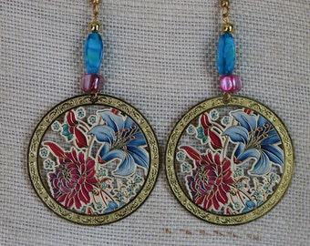 Pink And Blue Floral Earrings