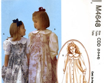 McCall's M4648 Sewing Pattern for Girls' Dresses and Pinafore - Uncut - Size 2, 3, 4, 5