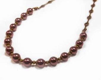 Maroon, Burgundy, Wine, Magenta Swarovski Crystal Pearls on Gold-Plated Brass Choker Necklace 1029
