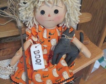 Prim Blonde Hilda-Boo Raggedy Witch with cat and her broom