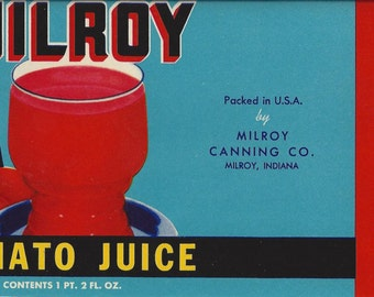 Milroy Tomato Juice Vintage Can Label, 1950s