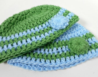 Crochet Baby Beanie Bundle 0-3 Months - Blue and Green