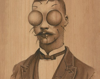 """Fly Guy, insect portrait, 8""""x10"""", """"Man in Transition"""", bug, vintage cabinet card, old timey, anthropomorphic, painting, illustration"""