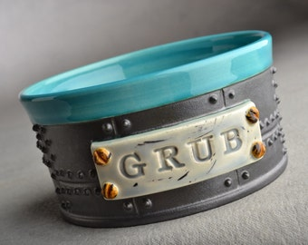 Dog Bowl Single Ready To Ship Sheet Metal Dog Food Bowl by Symmetrical Pottery