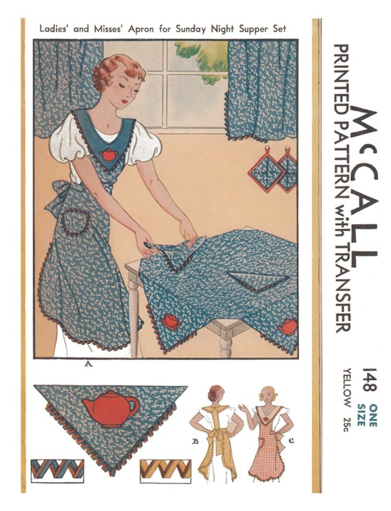 10 Things to Do with Vintage Aprons  1930s Full Size Apron Pattern Reproduction Fabric Sewing Pattern One Size  #148 $4.99 AT vintagedancer.com