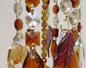 Crystal Prism Wind Chime - Amber Crystal Windchime Sun Catcher - Indoor or Outdoor - Golden Leaves
