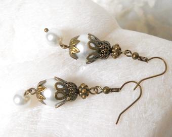 white pearl dangle earrings pearl earrings brass white flower earrings brass pearl earrings wedding earrings pearl present for her wedding