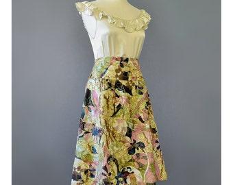 SALE - Floral Embroidered Silk Skirt Boho Skirt Chicos 90s Skirt Abstract Floral Skirt Drop Waist Full Skirt 1990s Skirt Bohemian Skirt