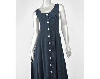 Black and White Polka Dot Dress Vintage 90s Dress Scoop Neck Sleeveless Sundress Maxi Dress Button Up Dress Long 1990s Dress Polkadot Dress