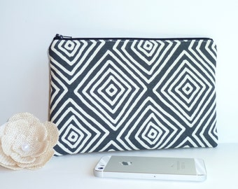 Zip Pouch in Faded Black Graphic, Clutch. Cosmetic / Make-up Bag. Gadget / Pencil/ Phone Case.