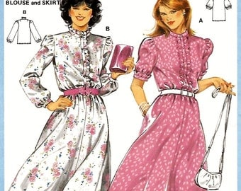 Burda 7944 Women's 70s Blouse & Skirt or Two Piece Dress Sewing Pattern Size 10 to 18 Bust 32 1/2 to 40.