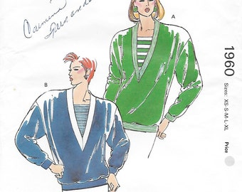 Kwik Sew 1960 Misses' 80s Pullover Top Sewing Pattern Bust 31 1/2 to 45