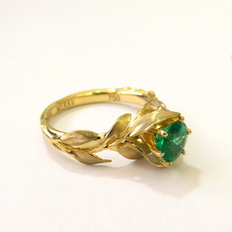 Raw Emerald Gold Ring