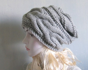 Womens Hat Slouchy Hat Slouchy Women Hat Slouch Beanie Cable Women Hat Oversized Hat Cable Hat Chunky Knit Hat Beanie Hand Knit Hat