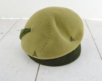 1960s Olive Green Arrow Felt and Velvet Hat