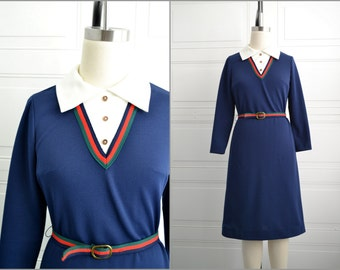 1970s Checkaberry Navy Dress