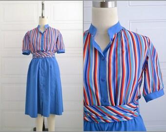 1980s Anjac Fashions Striped Shirt Dress