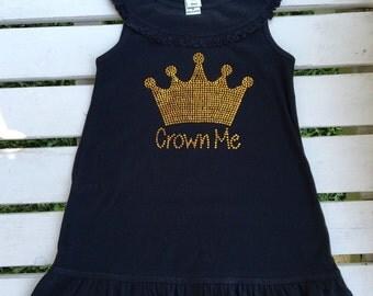 Crown Me dress, infant and toddler dress, princess dress, little girls dress, rhinestone dress, crown dress