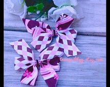 Hair Bows 2 Neapolitan Sweet chocolate, Vanilia n Strawberry  Delight Pin Wheel  Hair Bow set of 2, Handmade by:Tranquilityy