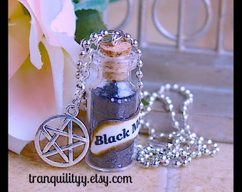 Black Magic Spells Necklace,  Protection Pentacle Glass 2ml Bottle vial necklace By: Tranquilityy