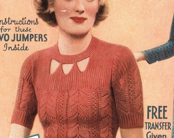 Lovely Lace, a 1930s delicate lace jumper - vintage knitting pattern PDF (331)