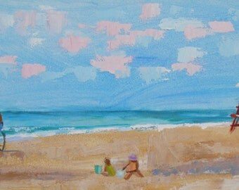 Beach Painting Large Ocean Seascape-12 x 36 Inches Original art  Painting